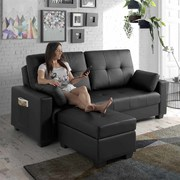 ECO-8220 2 seater sofa bed with massage and ottoman BLACK